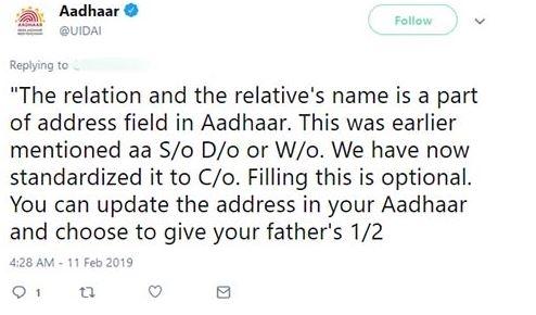 What Is C O In An Aadhaar Card Tesz
