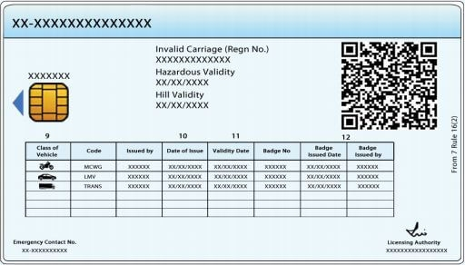 driving licence smart card pvc poly carbonate back side rto