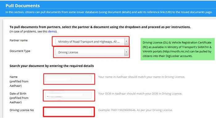 Digilocker Ministry of Road, Transport and Highways Vehicle Documents Driving License RC PUC Emission Certificate