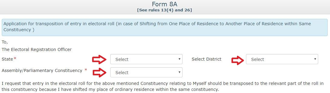 Voter ID Card address corrections within the same constituency Form 8a