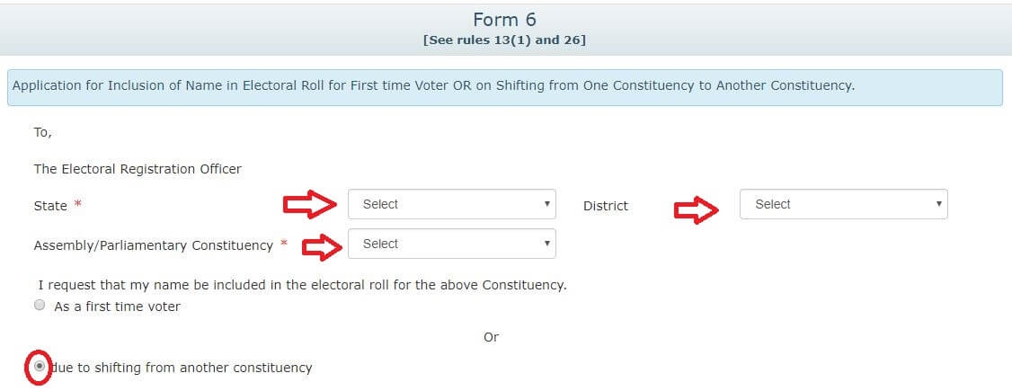 Voter ID Card address corrections outside the constituency Form 6