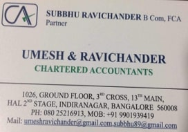 Sales tax (vat) registration agent in  Indiranagar, Bangalore | Umesh & Ravichander