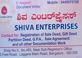 Sale deed agent in  Peenya, Bangalore | Shiva Enterprises